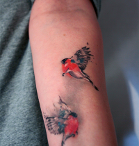 Two small birds tattoo