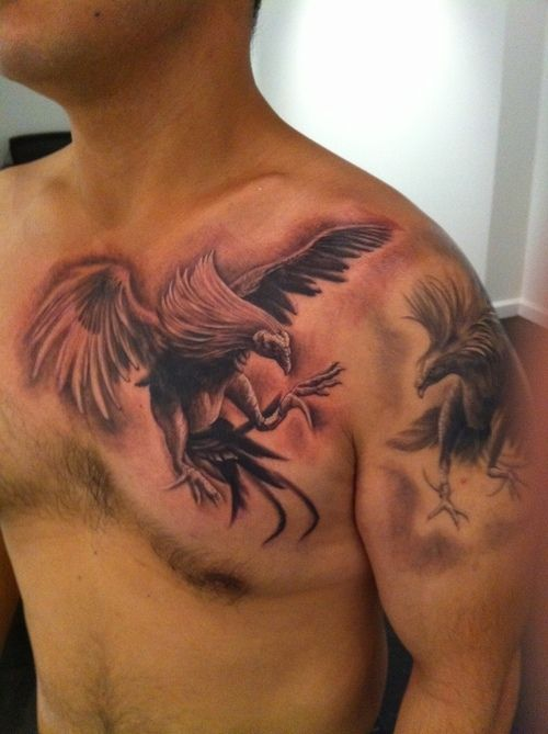 Two roosters tattoo design