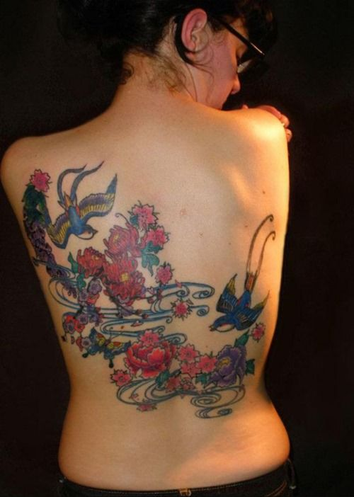 Two swallows among flowers tattooo