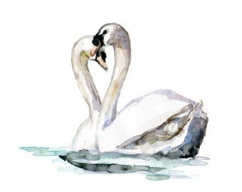 Two swans tattoo design