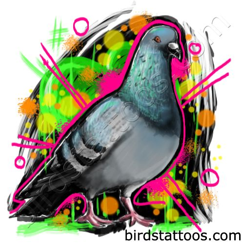Tattoo with grey dove with patterns