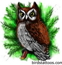 Brown owl on tree as tattoo design
