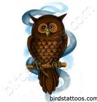 Brown owl sitting on the branch tattoo