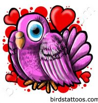 Pink dove with hearts tattoo design