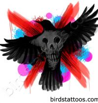 The magpie with skull tattoo design